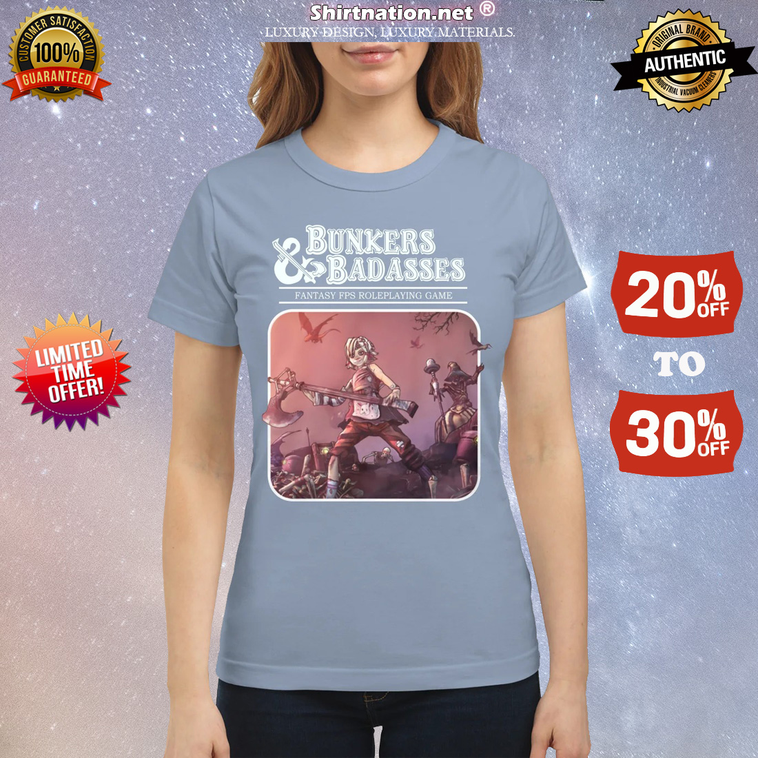 Bunkers and badasses fantasy fps game classic shirt