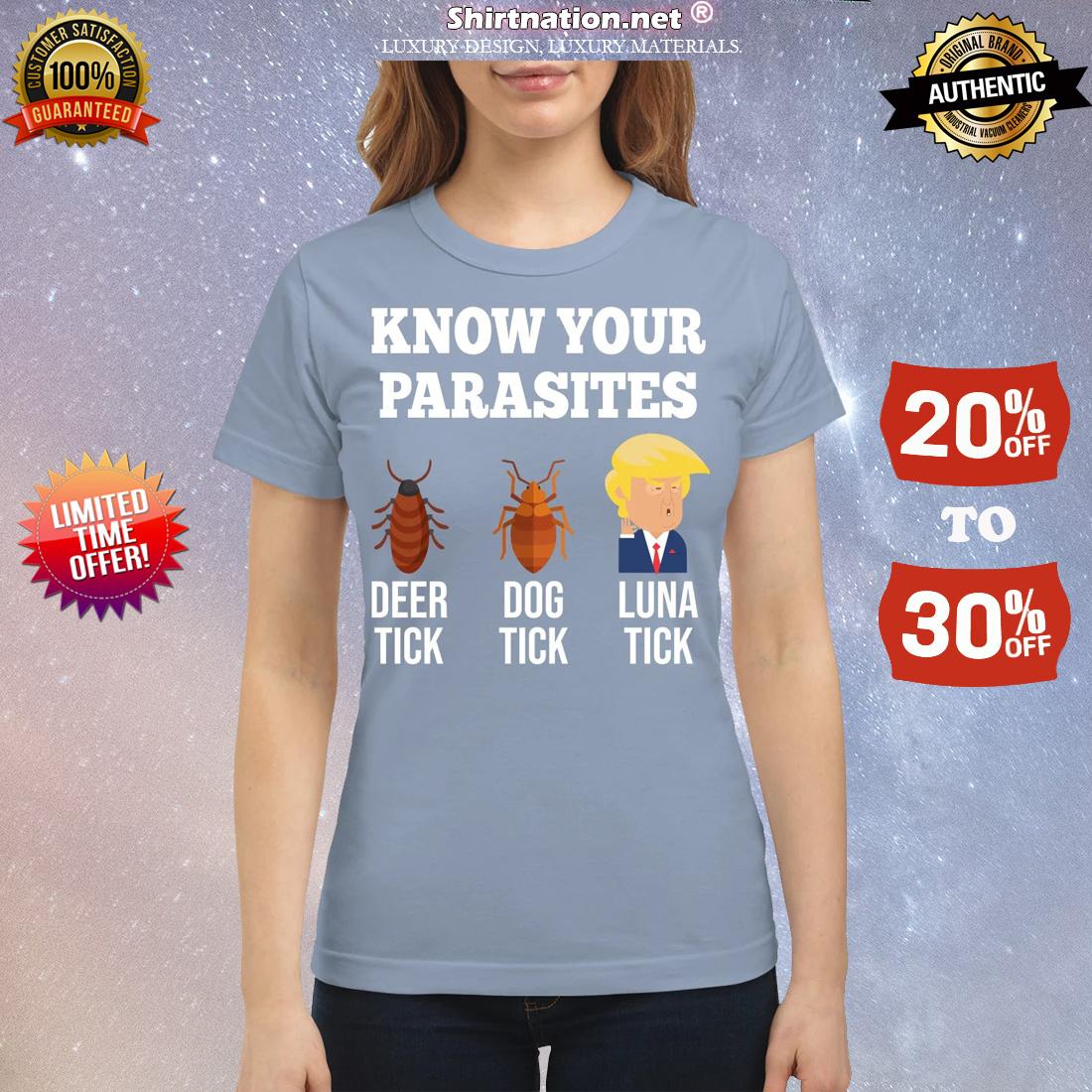 Know your parasites deer tick dog tick luna tick Trump classic shirt