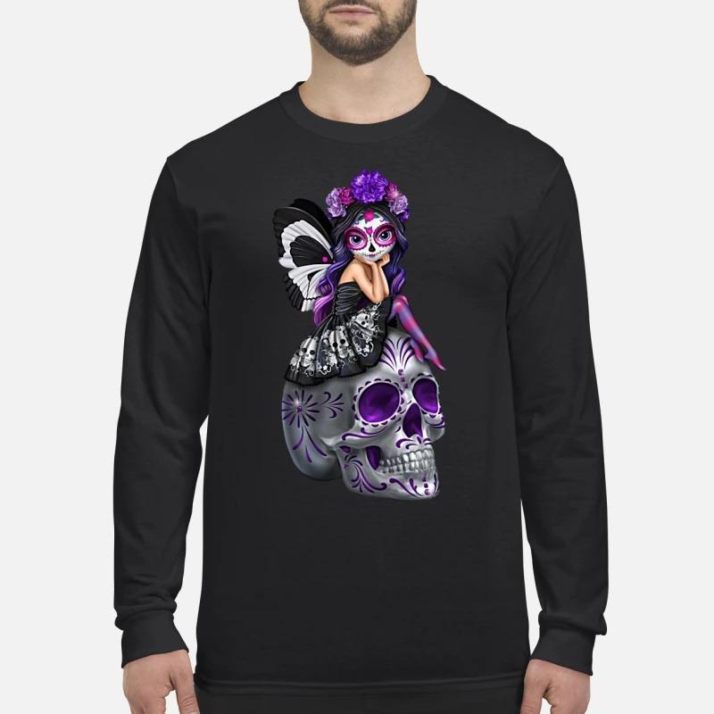 Sugar skull fairy men's long sleeved shirt