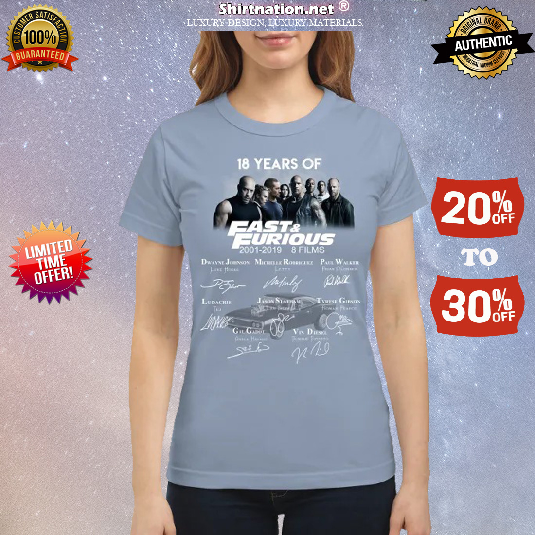 18 years of fast and furious 8 films classic shirt