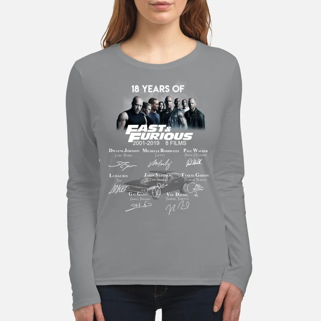 18 years of fast and furious 8 films women's long sleeved shirt