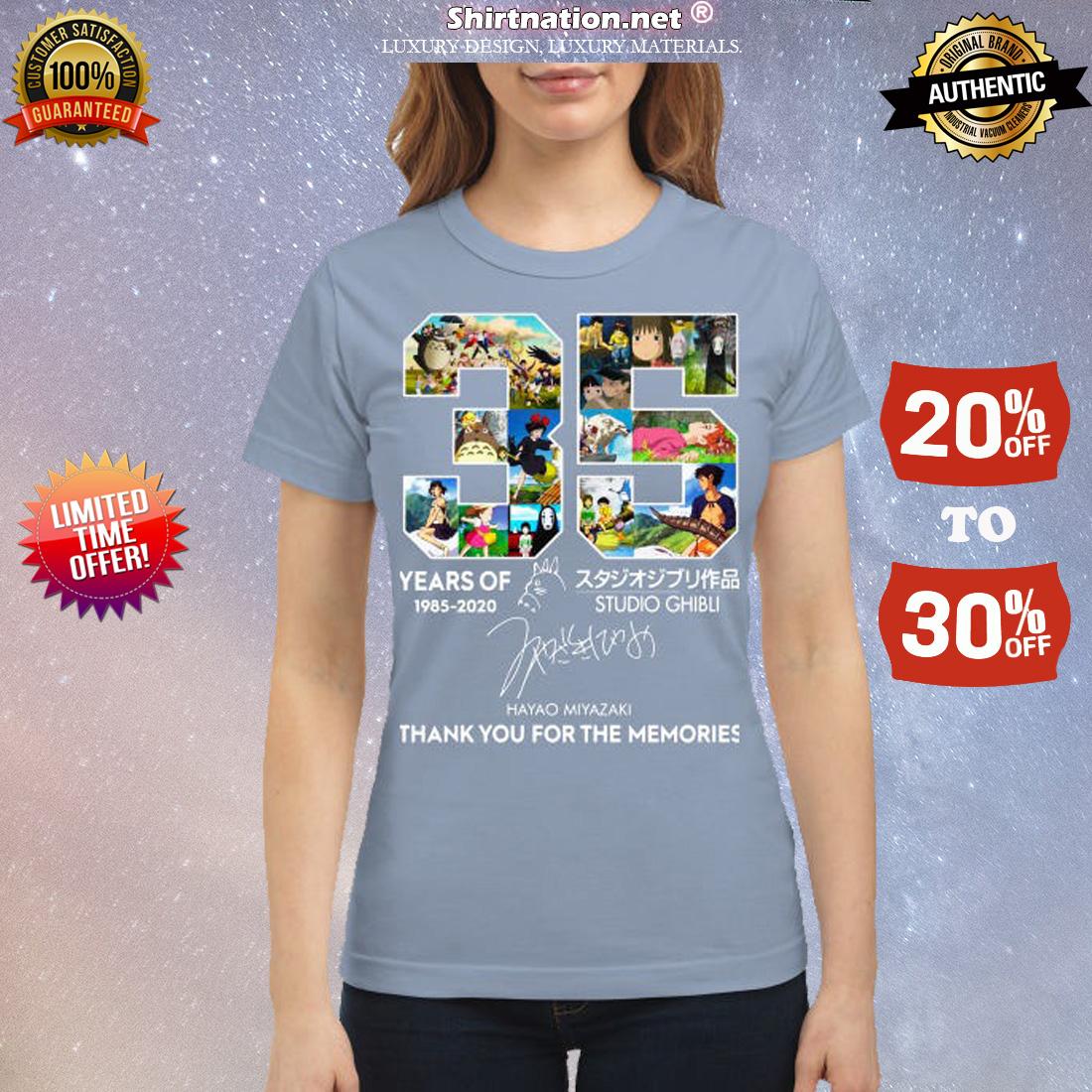 35 year of Studio Ghibli thank you for memories classic shirt