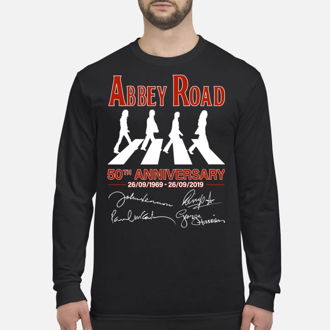 Abbey Road 50th anniversary signatures men's long sleeved shirt
