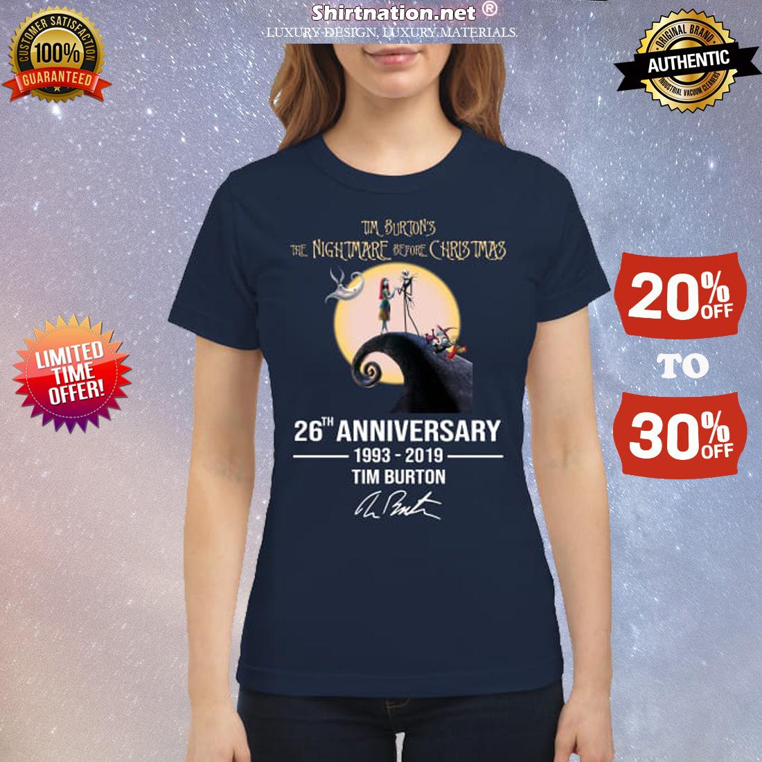 Tim Burtons nightmare before Christmas 26th anniversary classic shirt