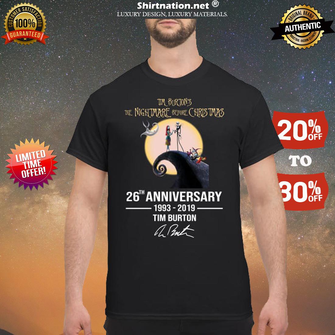 Tim Burtons nightmare before Christmas 26th anniversary shirt