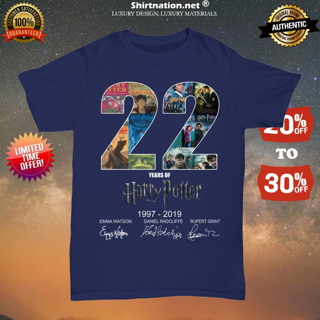 22 years of Harry Potter 1997 2019 Emma Watson Daniel Radcliffe Rupert Grint unisex tee shirt