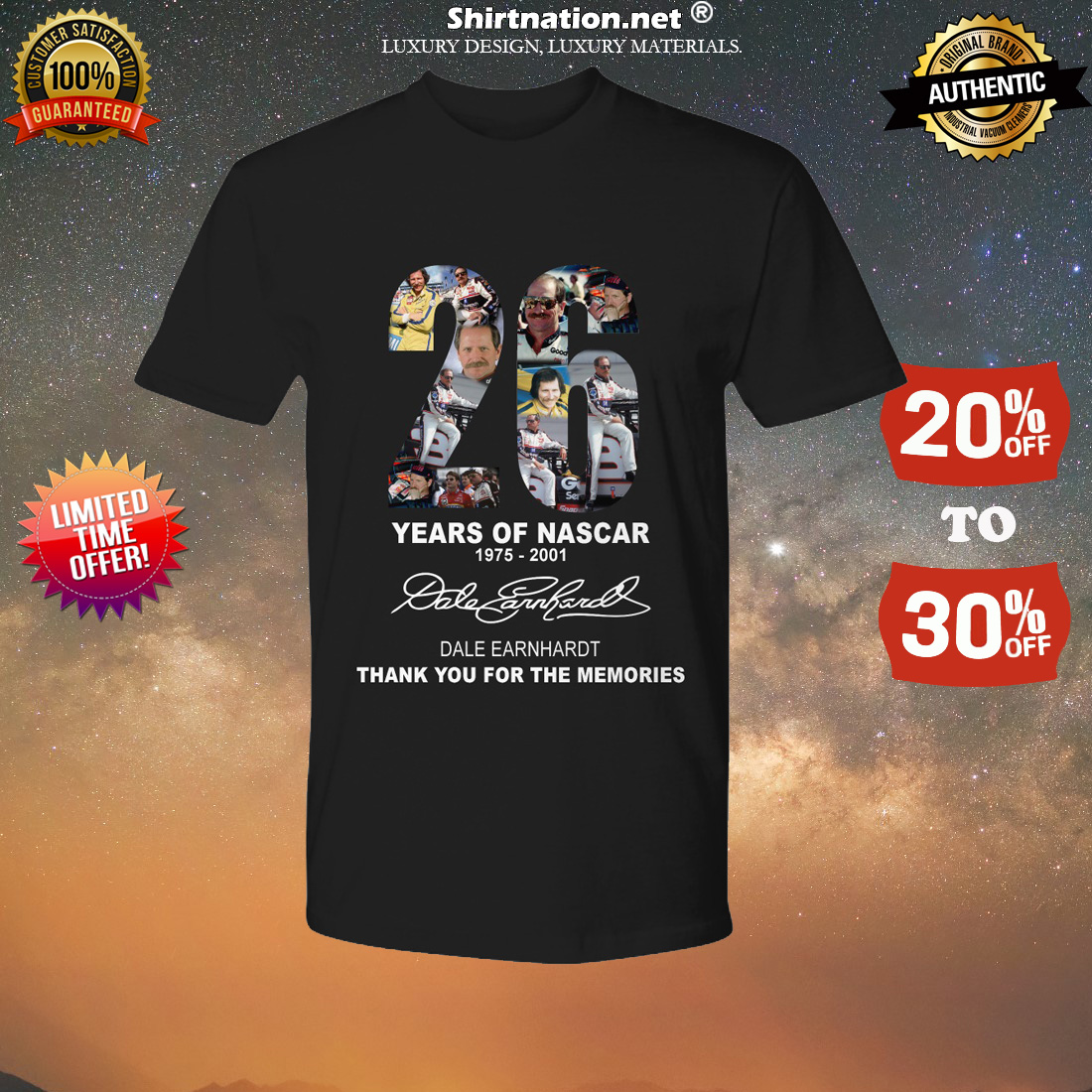 26 years of Nascar Dale Earnhardt thank you for the memories shirt