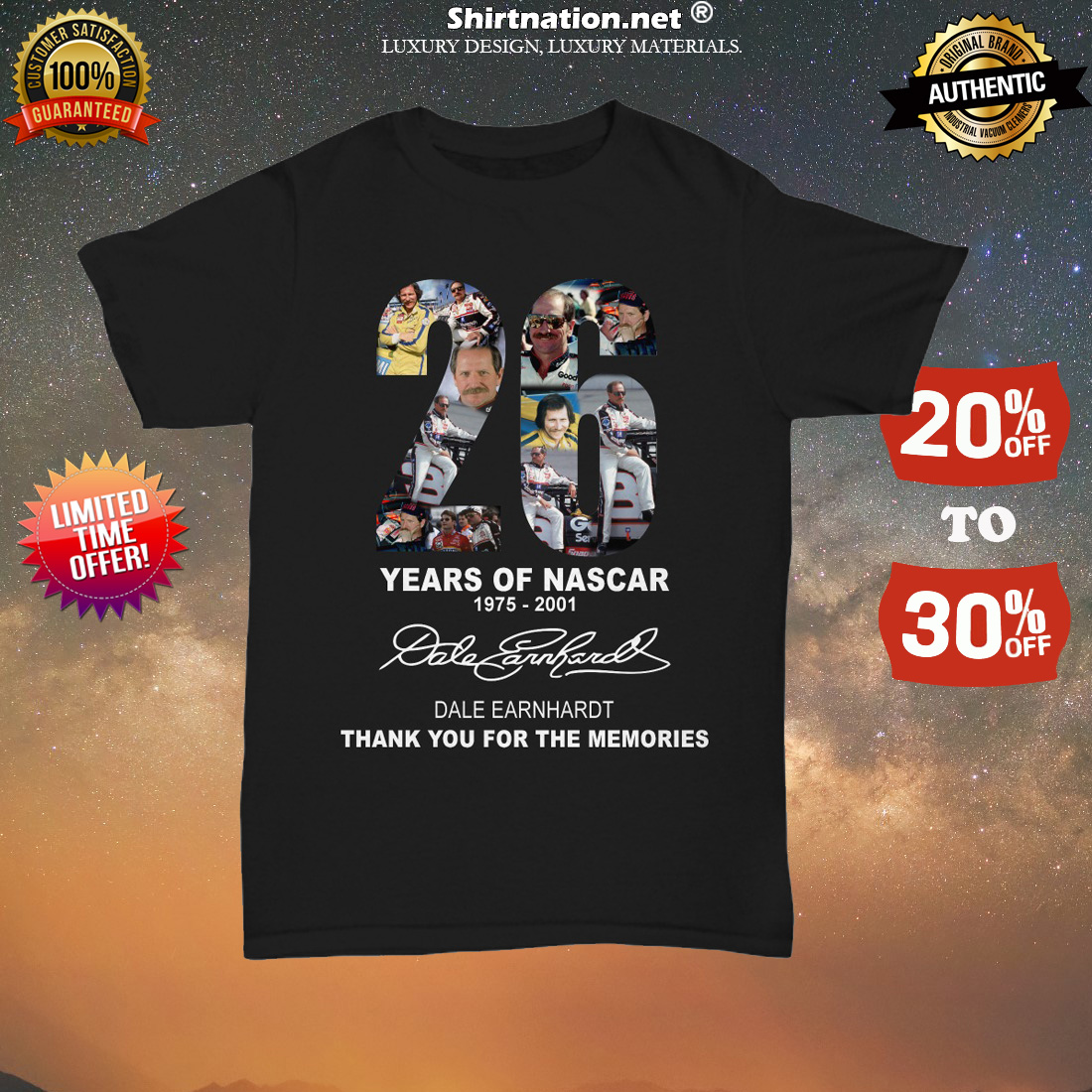 26 years of Nascar Dale Earnhardt thank you for the memories unisex tee shirt