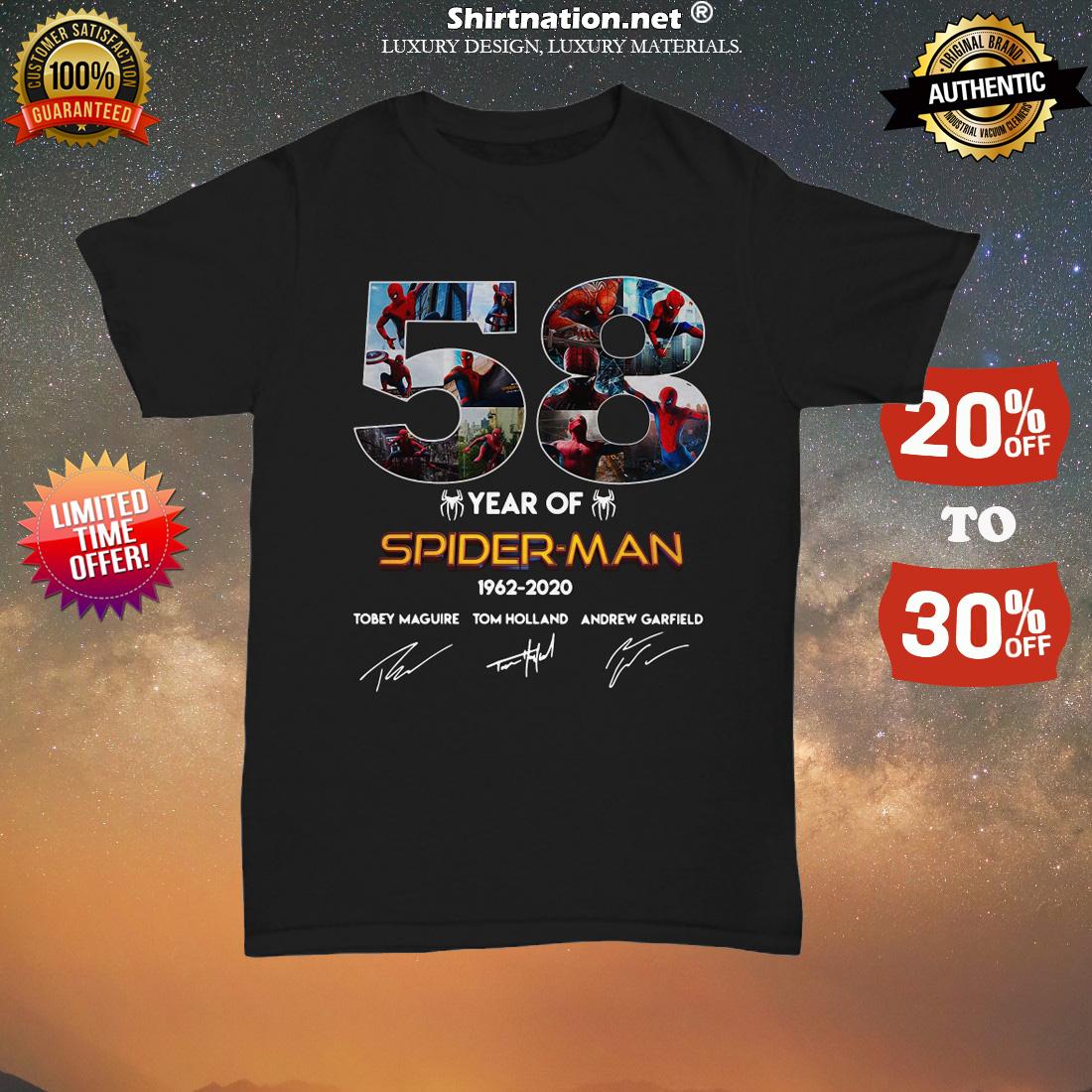 58 year of Spider Man 1962 2020 signatures unisex tee shirt