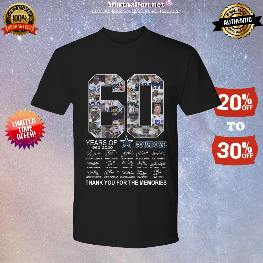 60 years of Dallas Cowboys signatures shirt