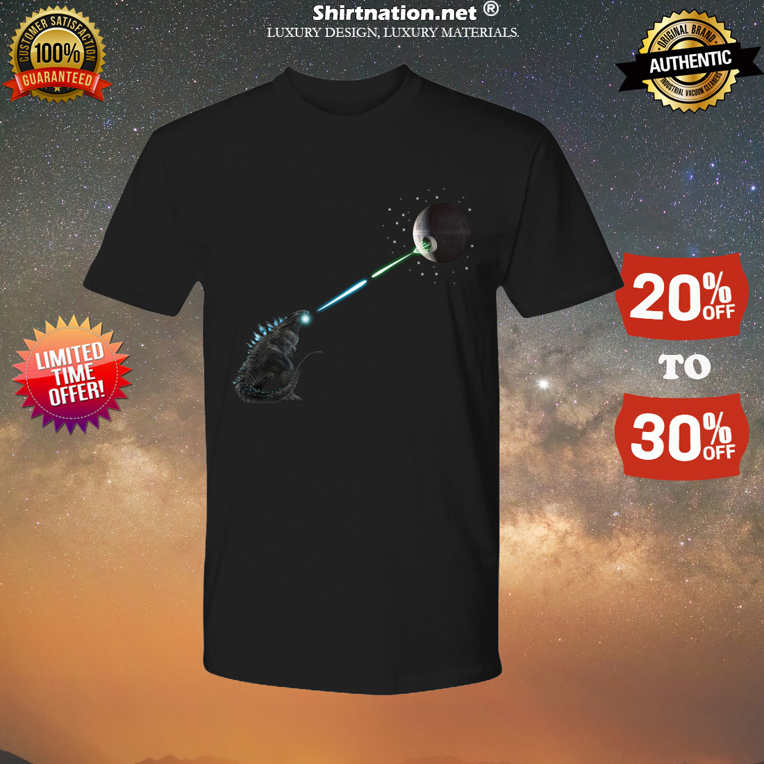 Godzilla fights death star shirt