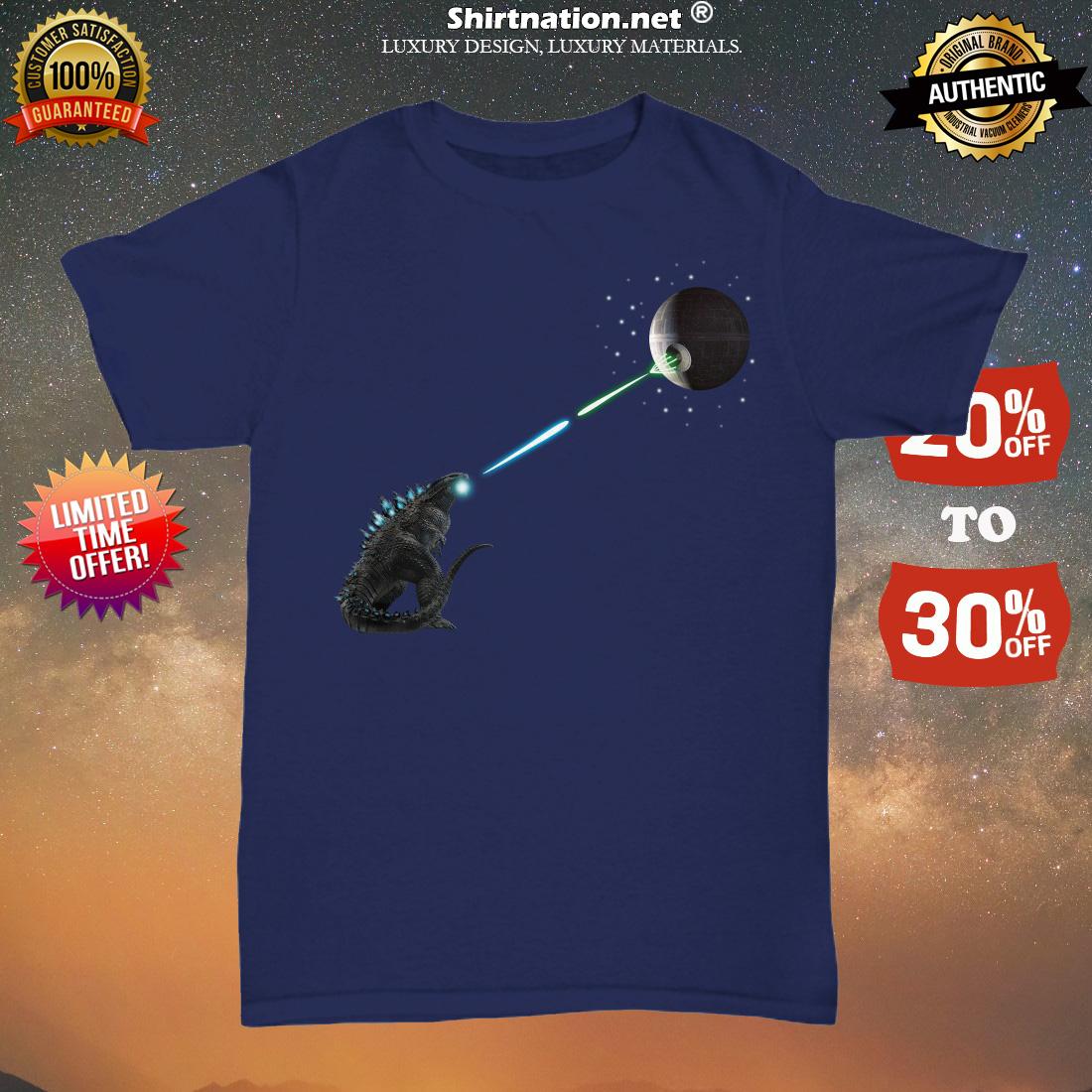 Godzilla fights death star unisex tee shirt