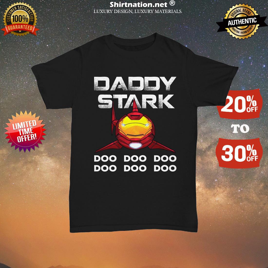 Iron man daddy shark doo doo doo unisex tee shirt
