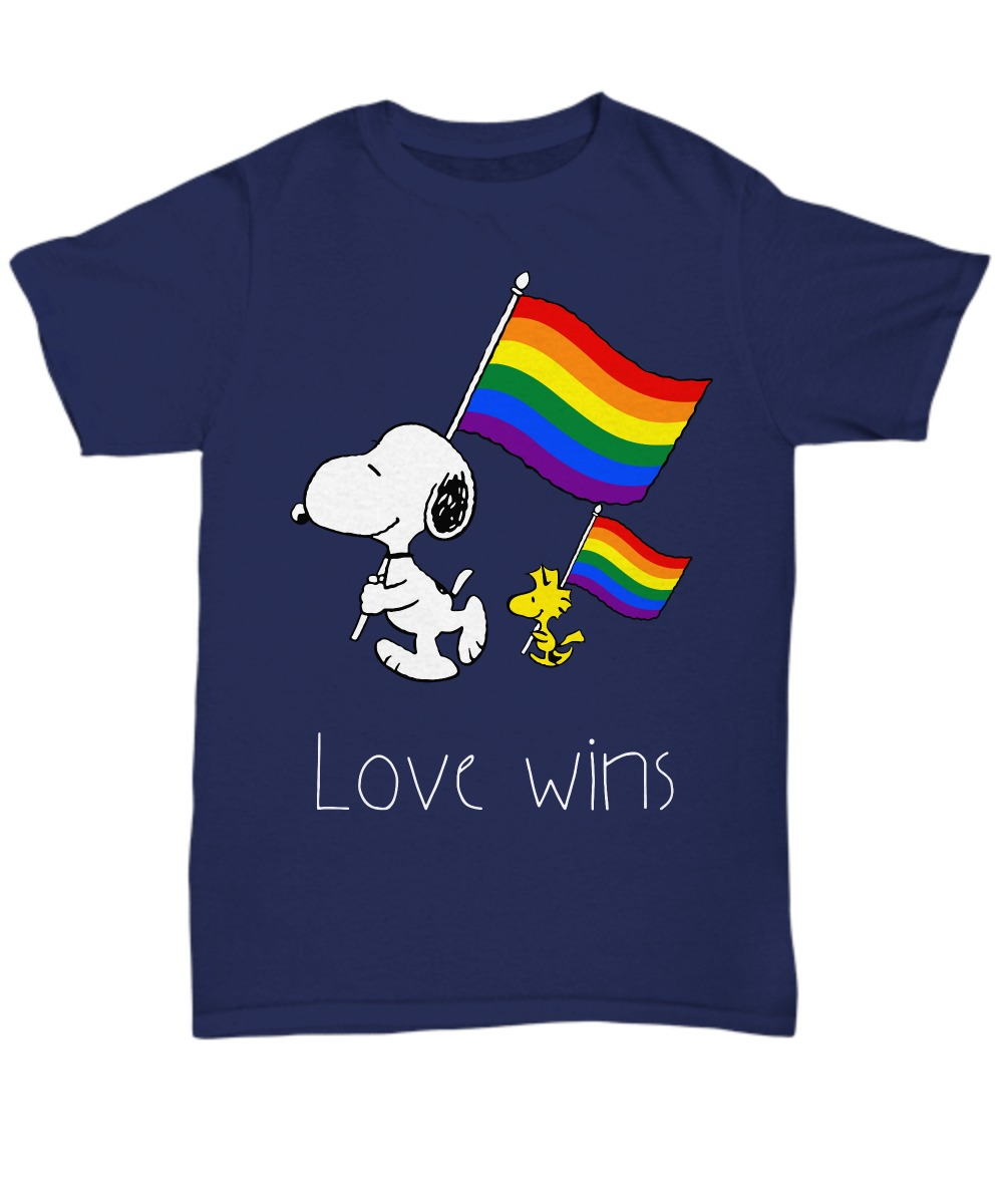 LGBT snoopy and woodstock love wins unisex tee shirt