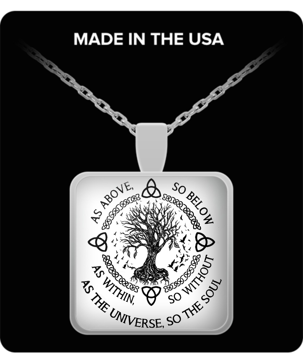 As above so below as within so without as the universe so the soul pendant square necklace