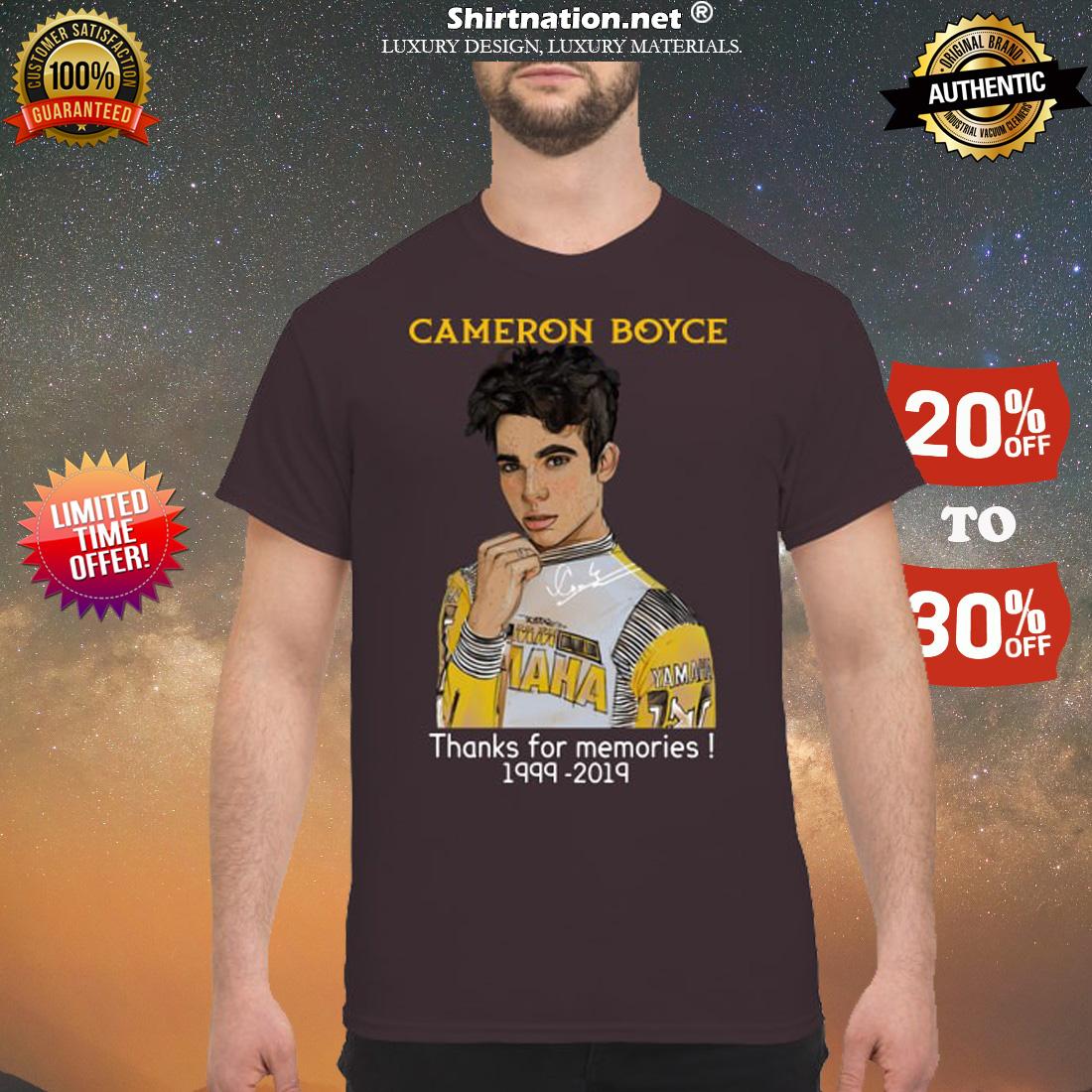 Cameron Boyce thanks for memories 1999 2019 shirt