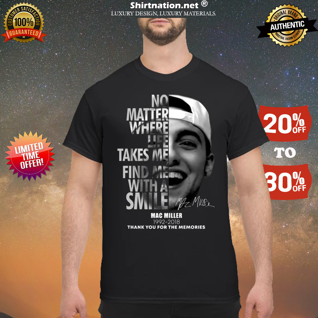 No matter where life takes me find me with a smile Mac Miller 1992 2018 shirt