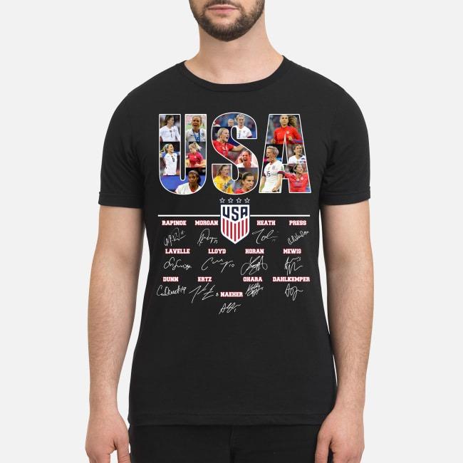 USA soccer team signatures premium men's shirt