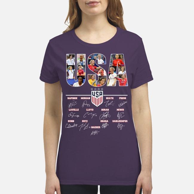 USA soccer team signatures premium women's shirt