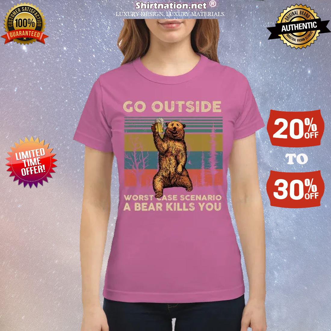 Go outside worst case scenario a bear kills you classic shirt