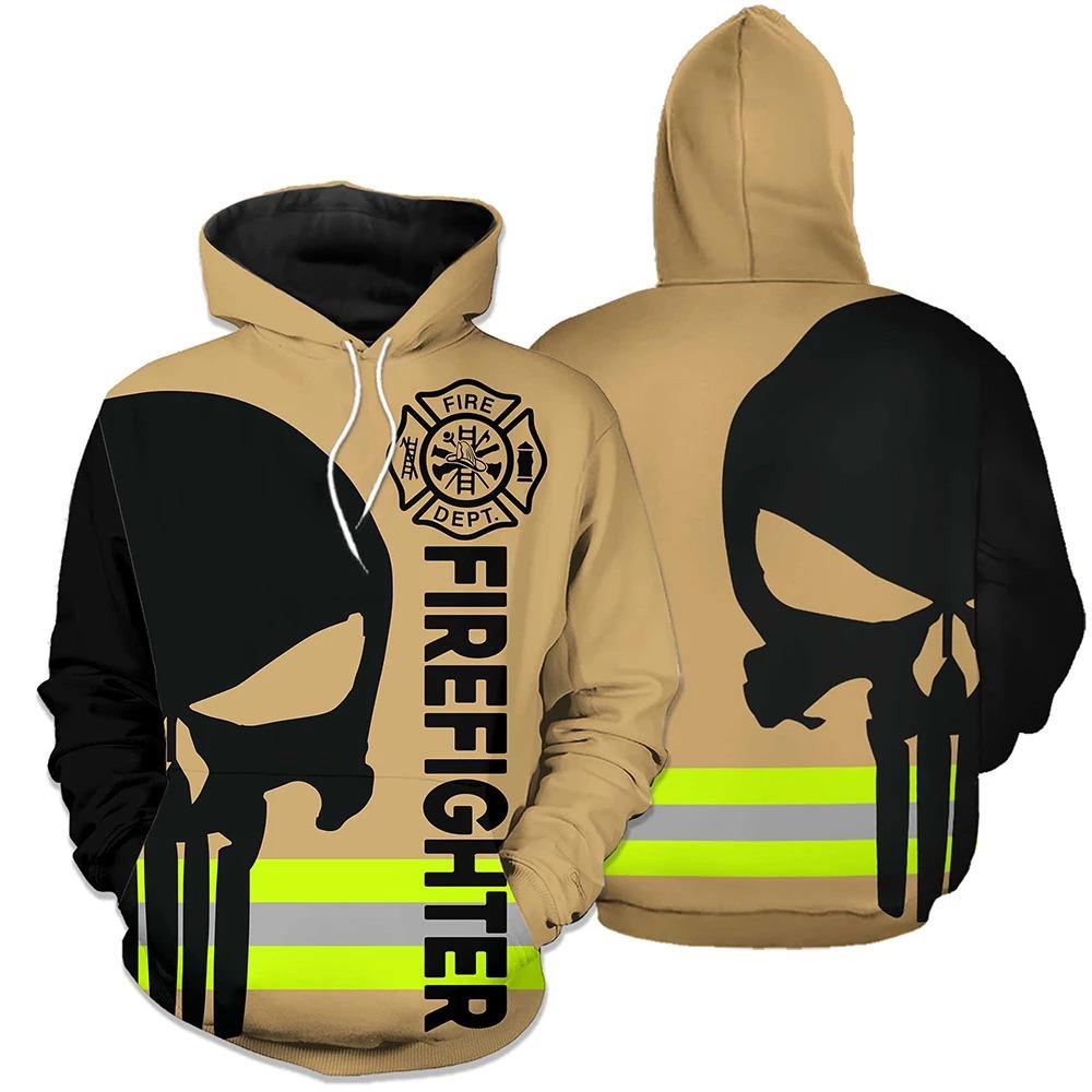 Firefighter skull fire dept 3d hoodie