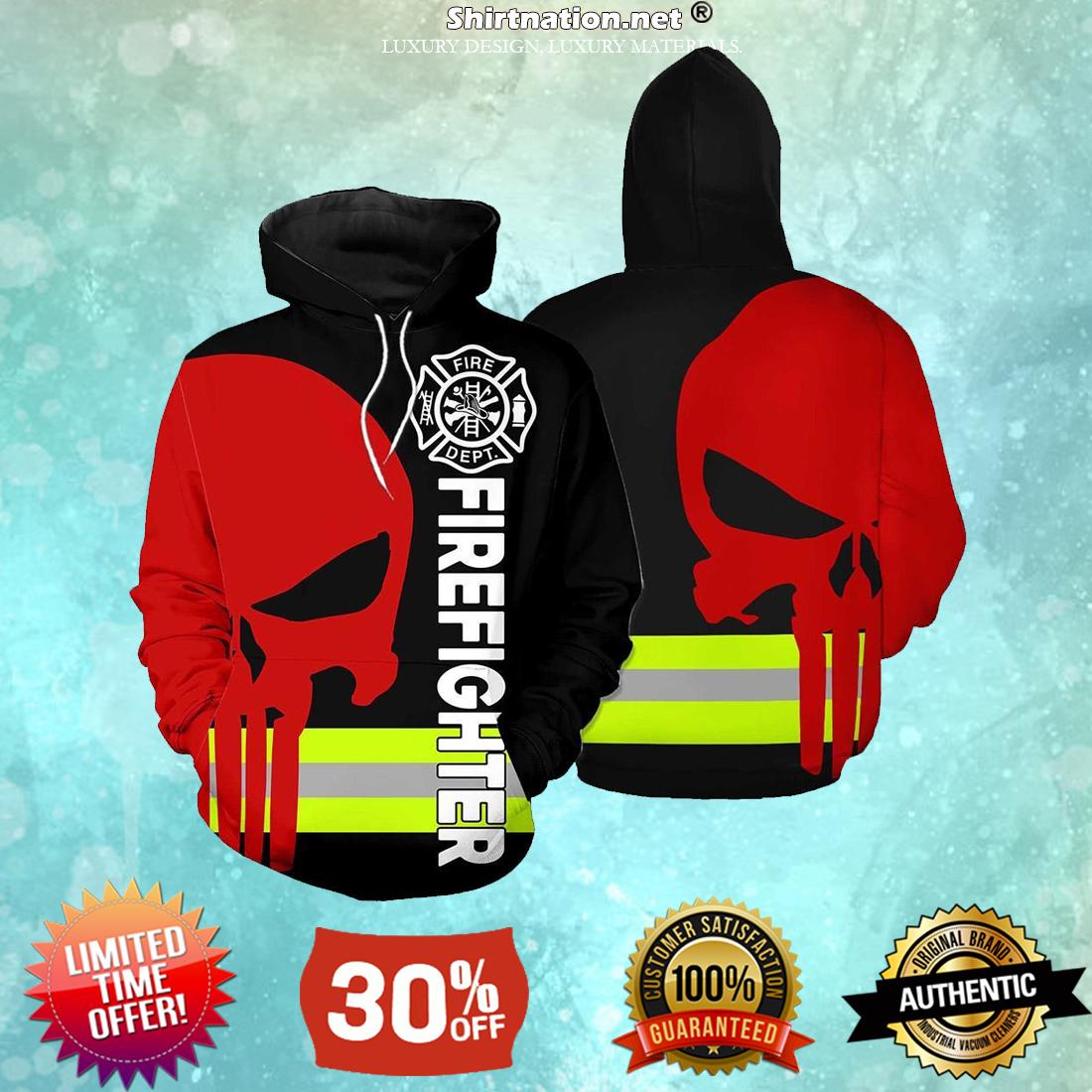 Firefighter skull fire dept 3d hoodies