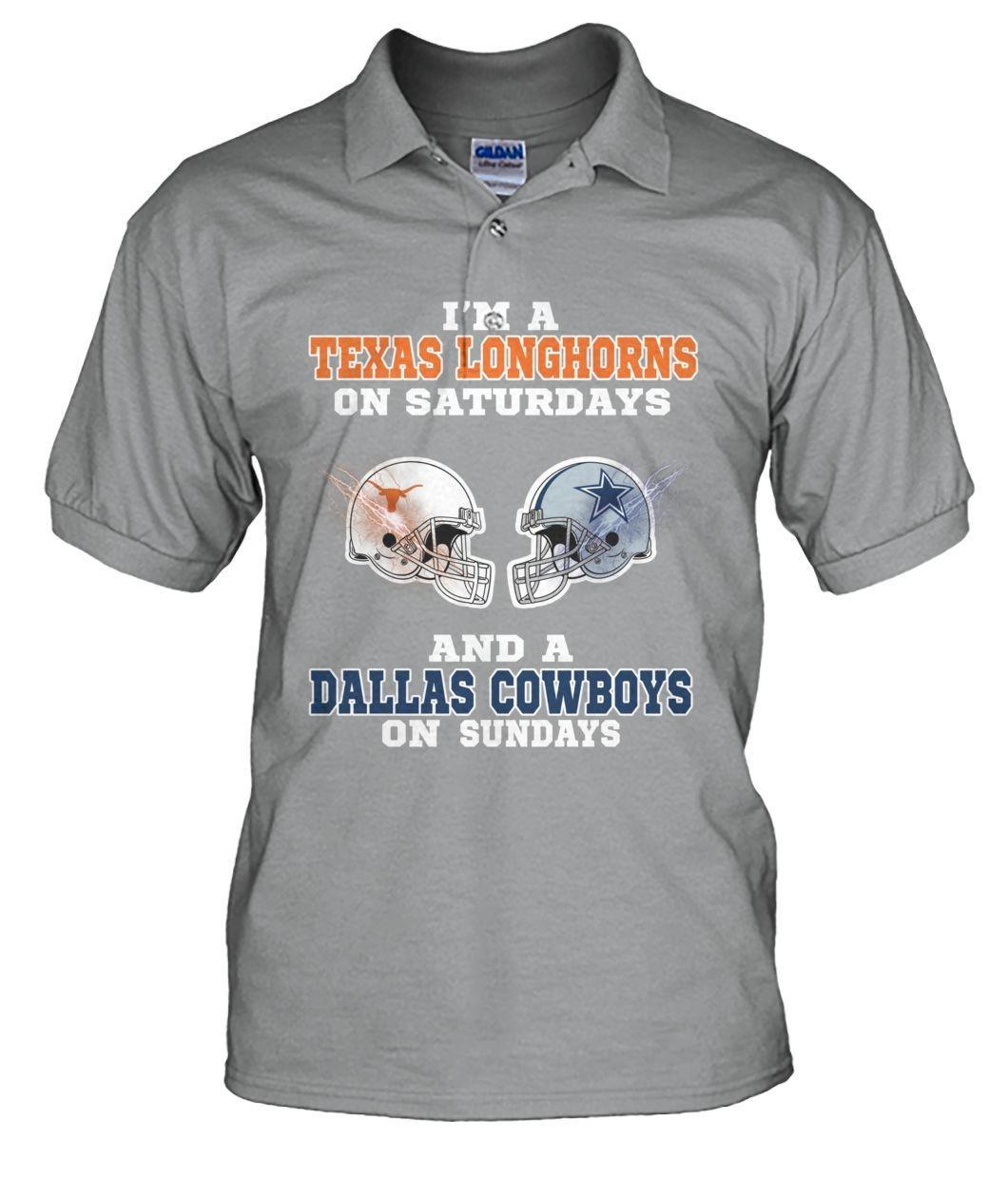 I'm Texas longhorn on Saturdays and Dallas Cowboys on Sunday men''s polo