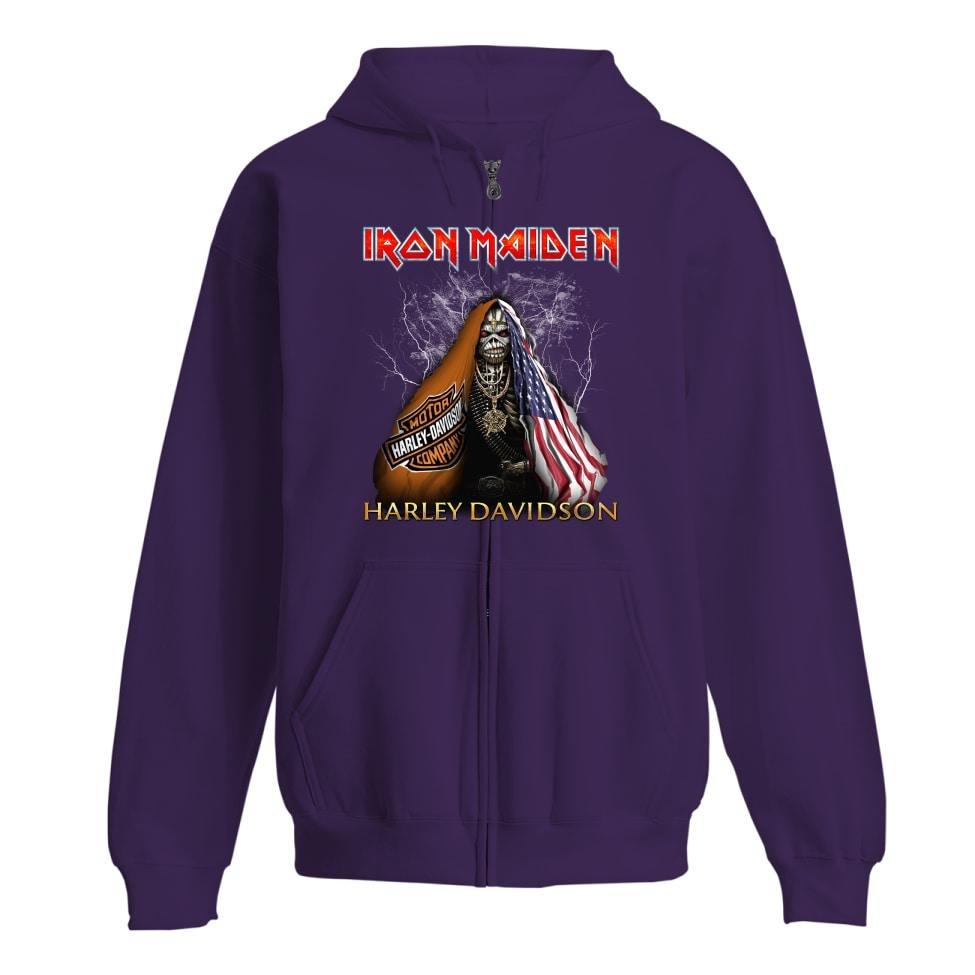 Iron Maiden Harley Davidson shirt and zip hoodie