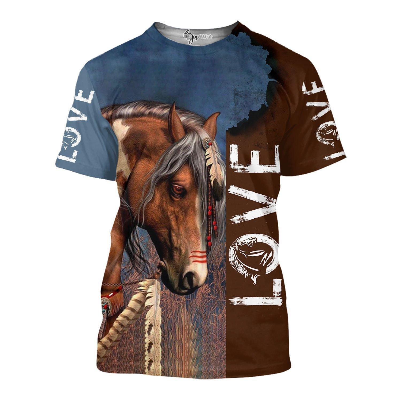 Love horse 3d full print hoodie and shirt