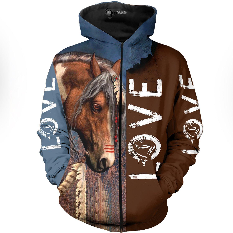 Love horse 3d full print hoodie and zipped hoodie