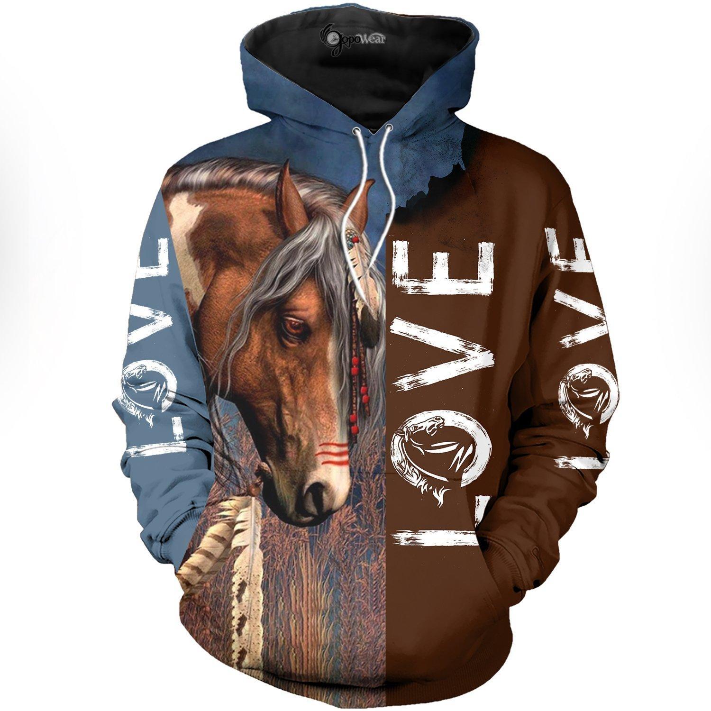 Love horse 3d full print hoodie