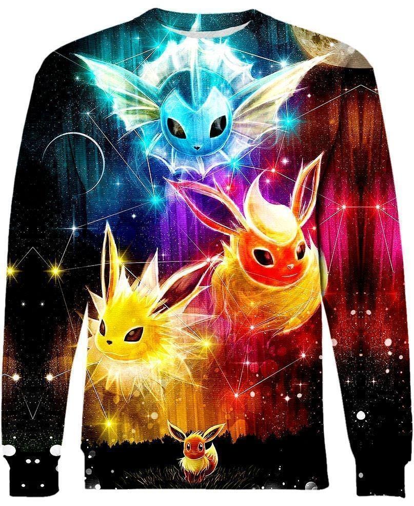 Pokemon Eevee evolution 3d hoodie and sweatshirt