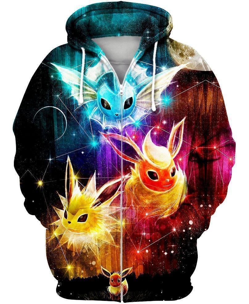 Pokemon Eevee evolution 3d hoodie and zip