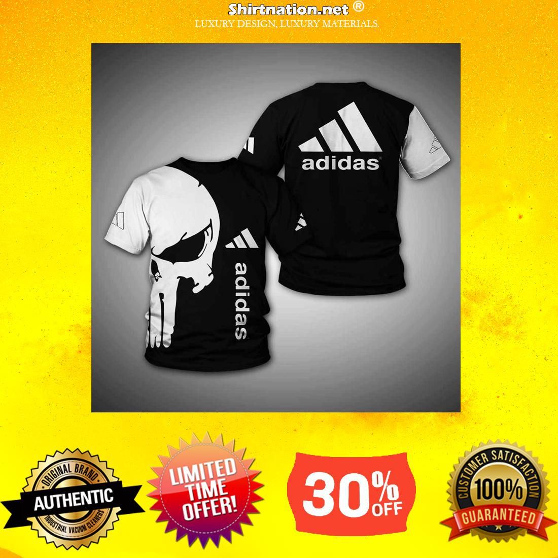 Punisher skull adidas 3d hoodie and shirt