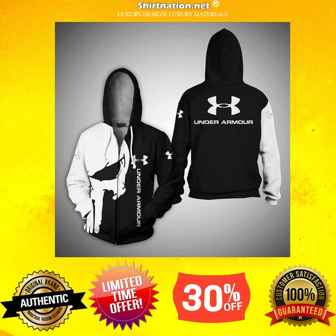 Punisher skull under armour 3d sweatshirt and zipper
