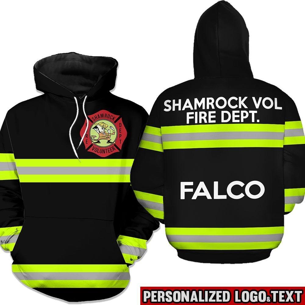 Shamrock volunteer firefighter dept 3D black hoodie