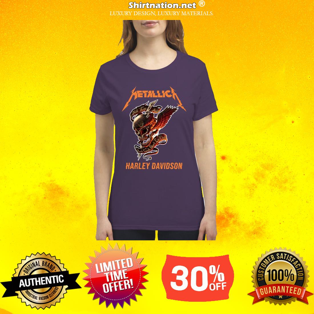 Skull Metallica Harley Davidson premium women's shirt