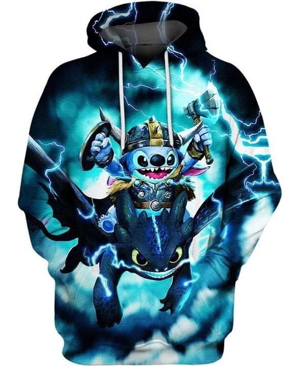 Stitch and toothless dragon 3d hoodie