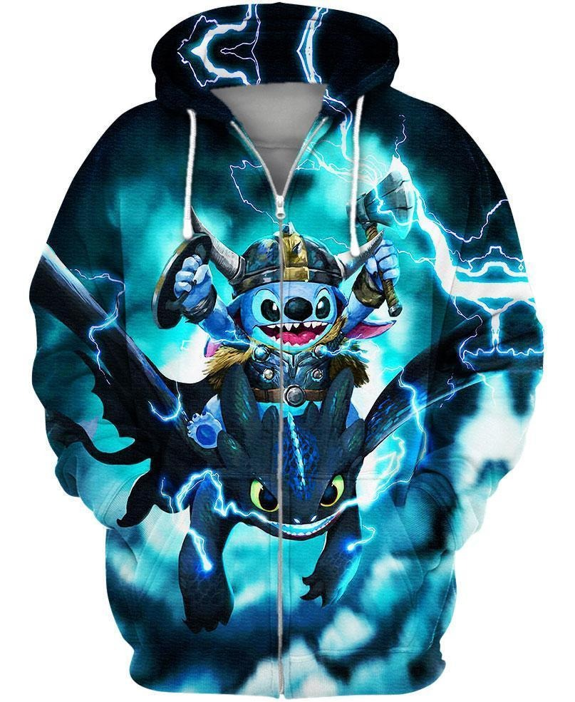 Stitch and toothless dragon 3d zip hoodie