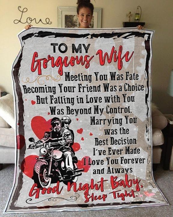 To my gorgeous wife good night baby sleep tight blanket