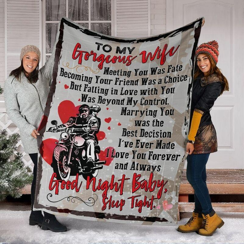 To my gorgeous wife good night baby sleep tight cool blanket