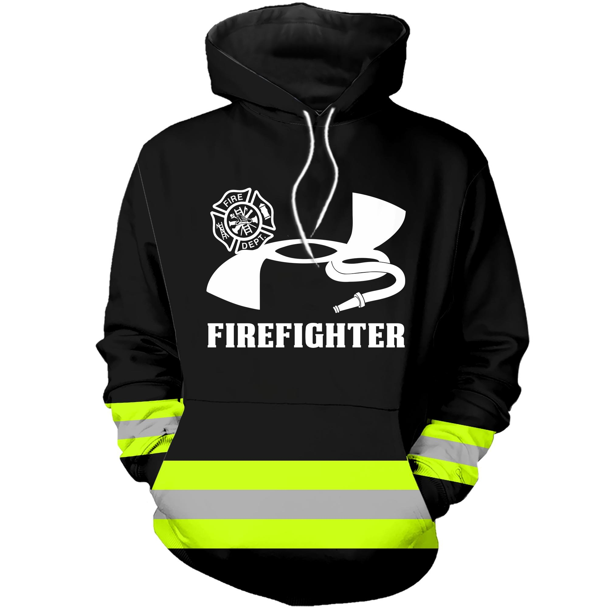Under armour firefighter 3D green hoodie
