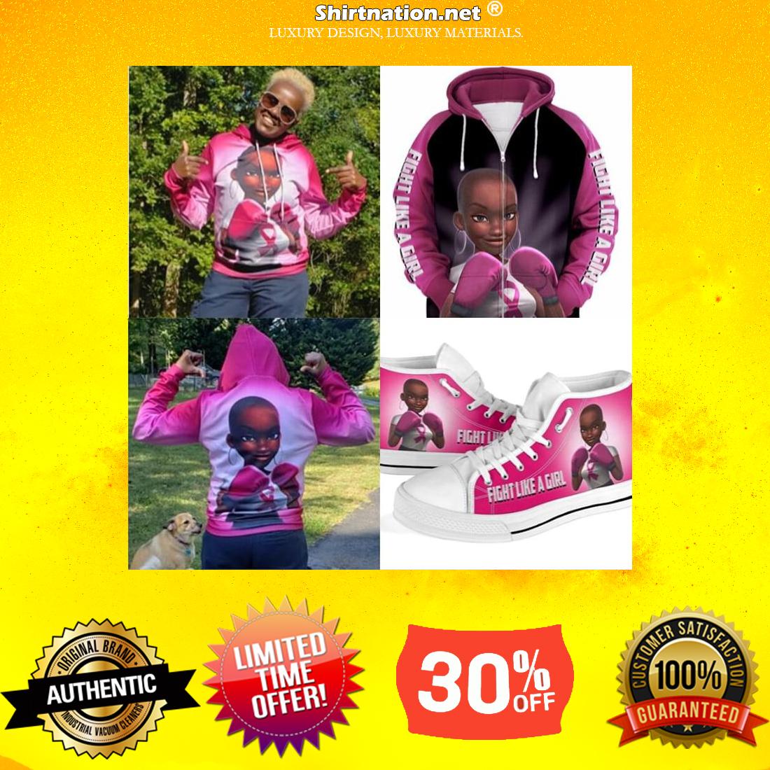 Black Girl Pink Warrior fight like a girl 3d hoodie