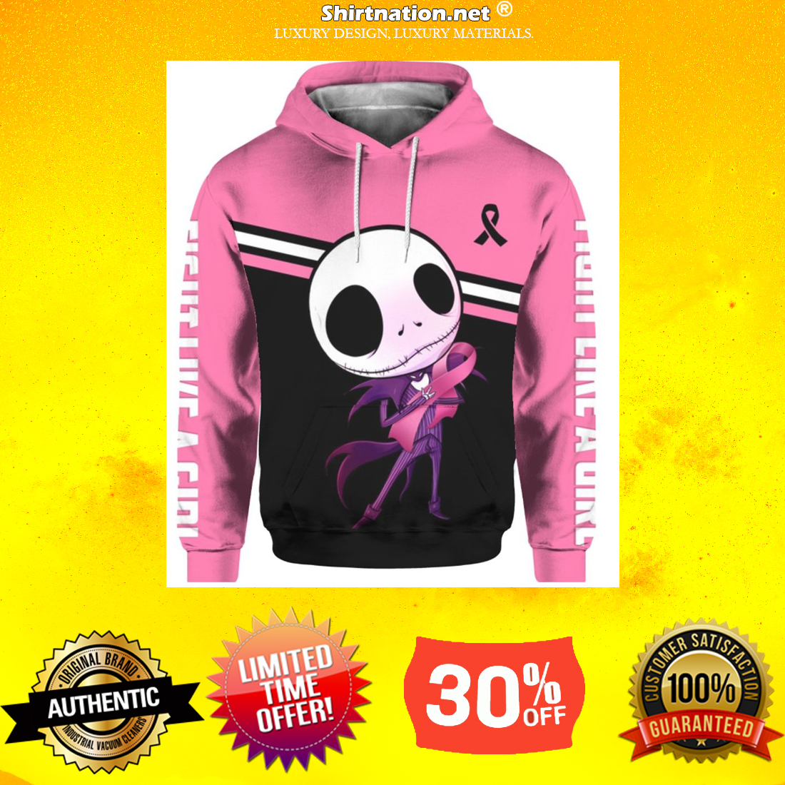 Cancer awareness Jack Skellington fight like a girl 3d hoodies