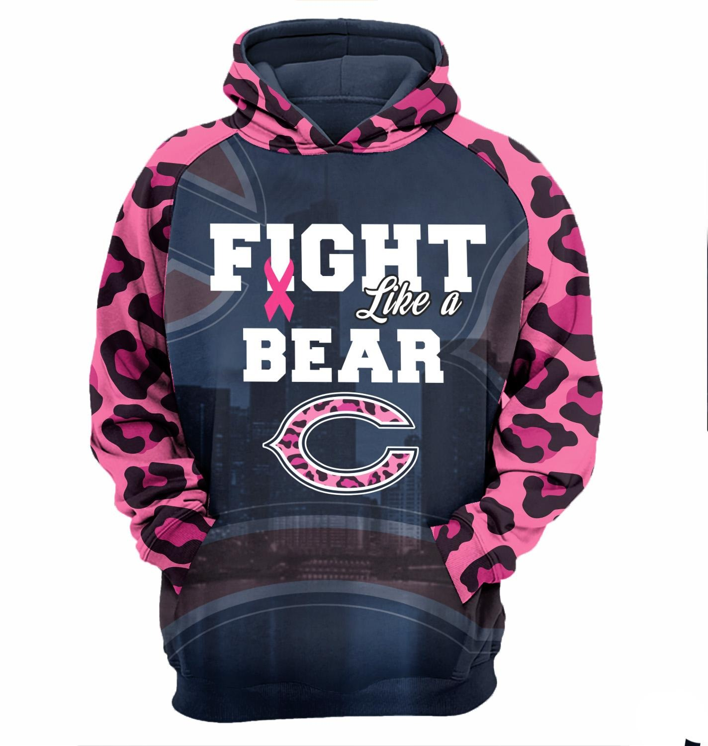 Chicago Bears fight like a bears cancer awareness 3d cool hoodie