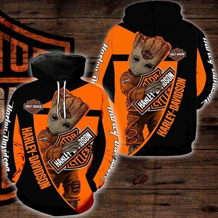Groot Harley Davidson 3d hoodie