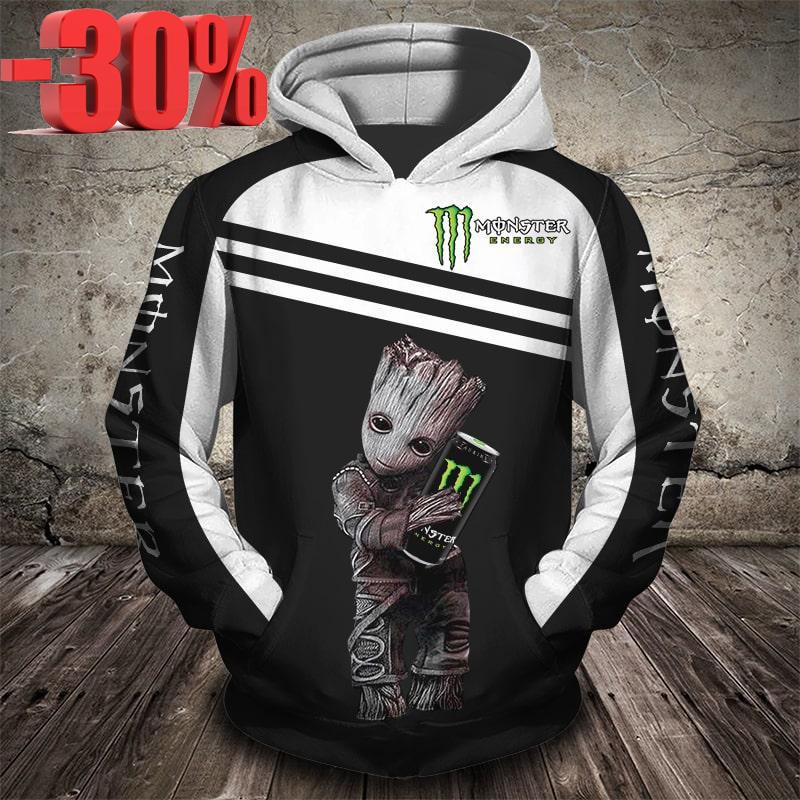 Groot monster energy 3d full print cool hoodie