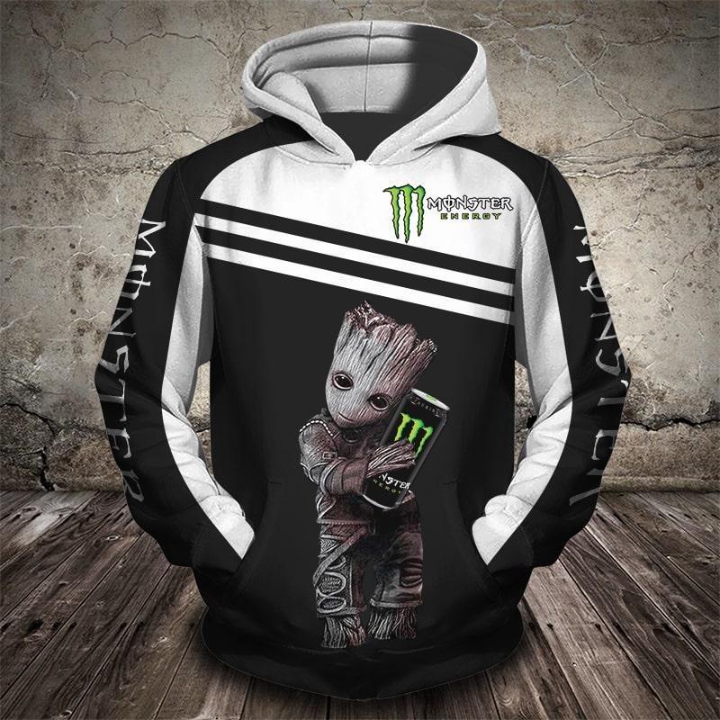 Groot monster energy 3d full print hoodie
