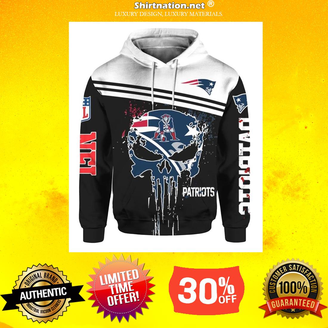 Punisher skull New England Patriots 3d hoodie