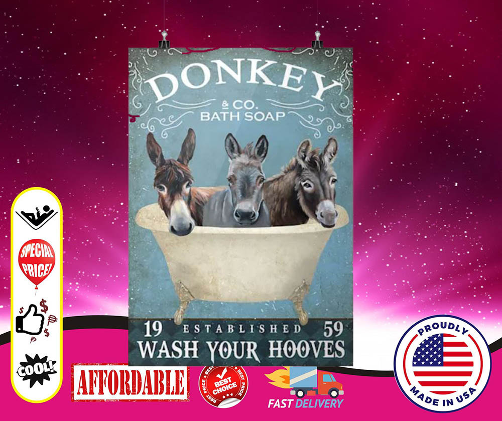Donkey bath soap wash your hooves cool poster